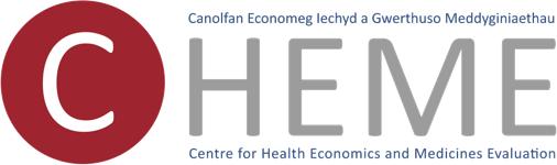 Canolfan Economeg lechyd a Gwerthuso Meddyginiaethau, Caentre for Health Economics and Medicines Evaluation Logo
