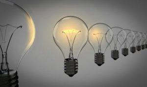 [image: line of lightbulbs, some lit]